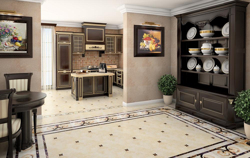 Дизайн плитки для пола кухни